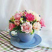 """Цветы и флористика ручной работы. Ярмарка Мастеров - ручная работа Букет """"Лиловая чашечка"""". Handmade."""