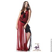 Одежда ручной работы. Ярмарка Мастеров - ручная работа Платье-туника, носится как платье или с узкими брюками Рубиновые цветы. Handmade.