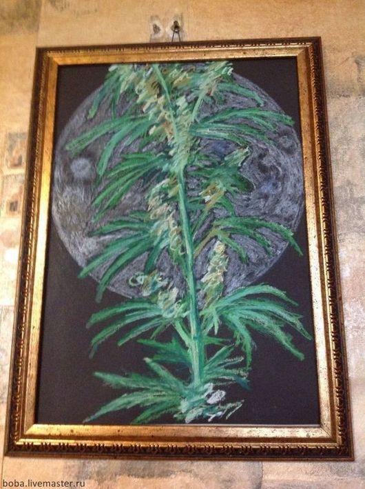 Абстракция ручной работы. Ярмарка Мастеров - ручная работа. Купить Растение под луной. Handmade. Черный, растение, карандаш, карандаш