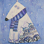 Картины и панно ручной работы. Ярмарка Мастеров - ручная работа Мишка на севере. Handmade.