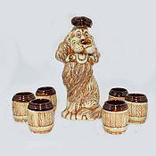 Подарки к праздникам ручной работы. Ярмарка Мастеров - ручная работа Штоф-собака со стопками. Handmade.
