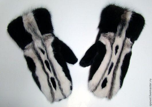 Варежки, митенки, перчатки ручной работы. Ярмарка Мастеров - ручная работа. Купить Варежки из норки полностью меховые (комбинированные). Handmade.