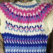 Одежда handmade. Livemaster - original item Knitted vest lopapeysa cashmere blue blue white pink. Handmade.