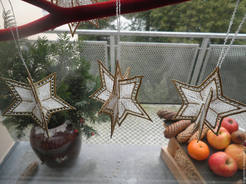 """Рождественская кружевная подвеска """"Звезды"""", Pendants for pots, Gera,  Фото №1"""