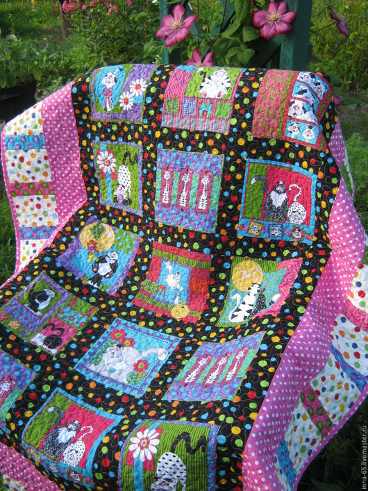 Пледы и одеяла ручной работы. Ярмарка Мастеров - ручная работа. Купить Лоскутное одеяло-покрывало Весёлые котейки 2. Handmade.