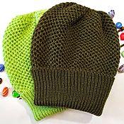 Аксессуары handmade. Livemaster - original item Knitted hat beanie cap beret (stocking) the three-dimensional lapel. Handmade.