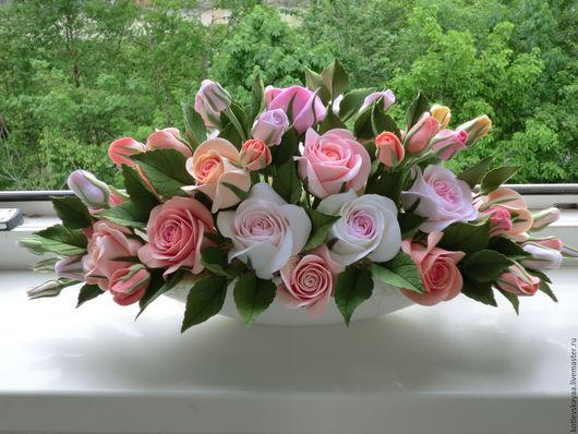Интерьерные композиции ручной работы. Ярмарка Мастеров - ручная работа. Купить Розы в низкой вазе. Handmade. Кремовый, розы