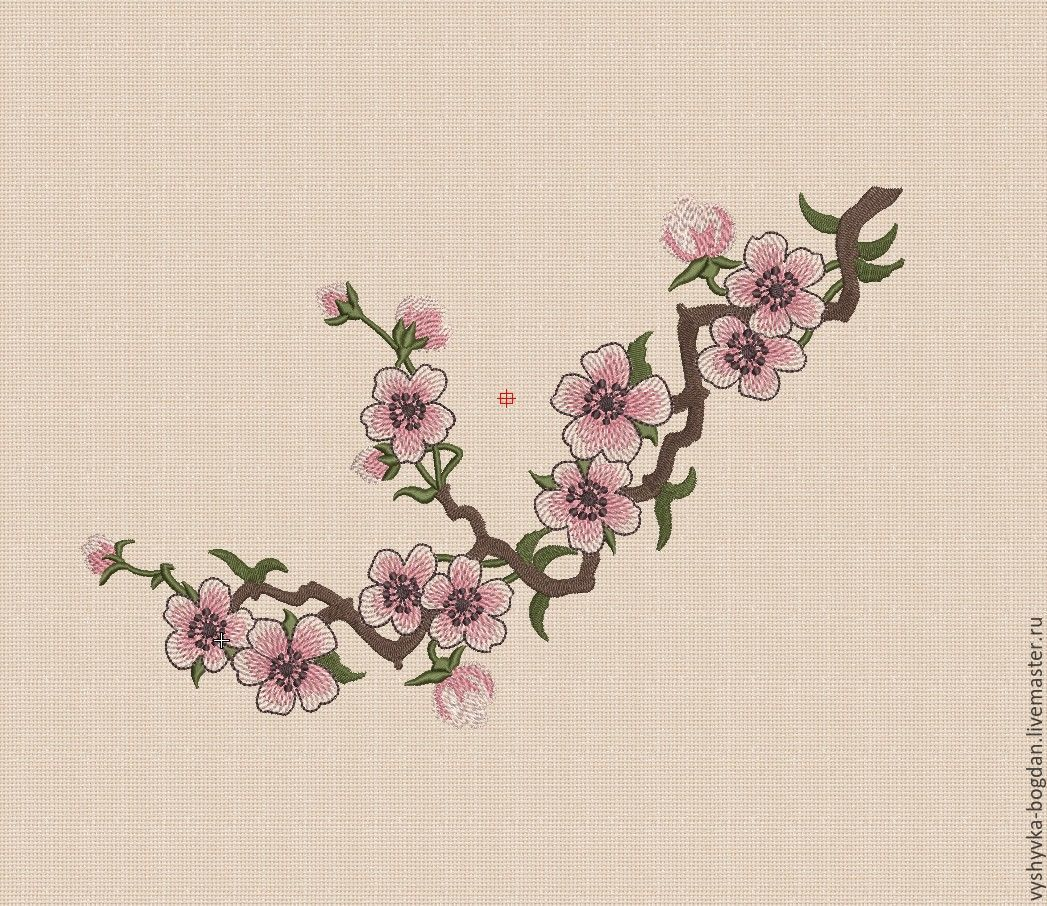 Machine embroidery design Sakura different formats: pes hus jef dst exp vp3 vip xxx XL - 300х180mm; L-180x130mm; S - 140x140mm