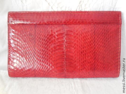 Винтажные сумки и кошельки. Ярмарка Мастеров - ручная работа. Купить Винтажная сумочка клач змеиная кожа, красная, питон. Handmade.