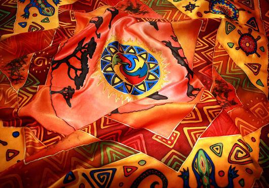 """Шали, палантины ручной работы. Ярмарка Мастеров - ручная работа. Купить Платок батик """"Жаркая Африка"""". Handmade. Рисунок"""