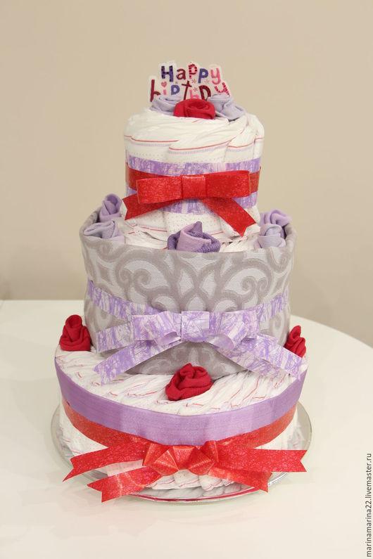 Персональные подарки ручной работы. Ярмарка Мастеров - ручная работа. Купить Торт из подгузников «Happy  birthday». Handmade. Торт