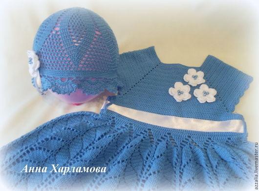 """Одежда для девочек, ручной работы. Ярмарка Мастеров - ручная работа. Купить Комплект  """"Для принцессы"""". Handmade. Голубой, платье на праздник"""