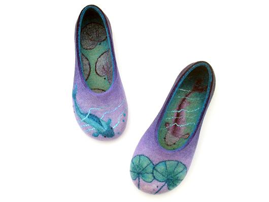 """Обувь ручной работы. Ярмарка Мастеров - ручная работа. Купить """"Рыбки в пруду"""", валяные домашние тапочки. Handmade. Тапочки, мятный"""