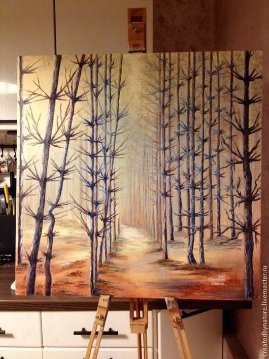 """Пейзаж ручной работы. Ярмарка Мастеров - ручная работа. Купить ПРОДАНА Картина """"Тишина"""". Handmade. Бежевый, лесная сказка, дерево"""