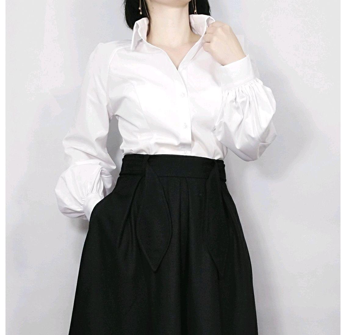 22e7fe1d628 Белая блузка с пышными рукавами – купить в интернет-магазине на ...