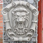 Дача и сад handmade. Livemaster - original item Lion concrete bas-relief No. №2 on the cartouche, grinning. Handmade.