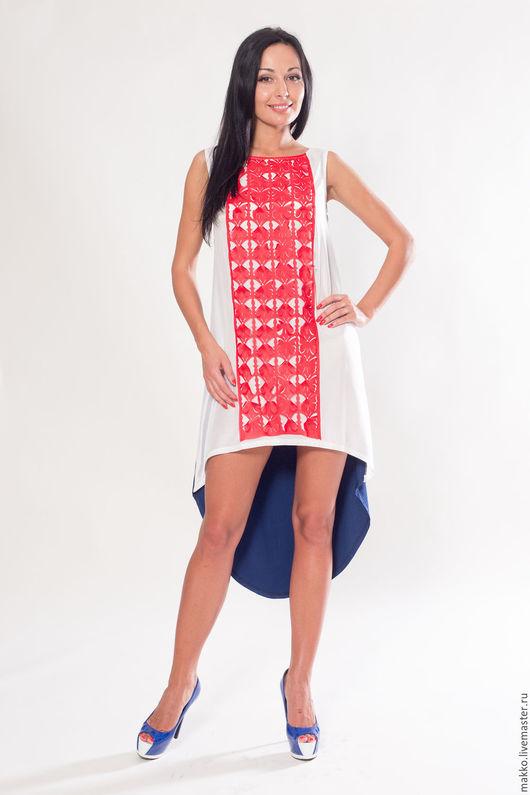 Платье `Бабочки` сине-бело-красный 11167