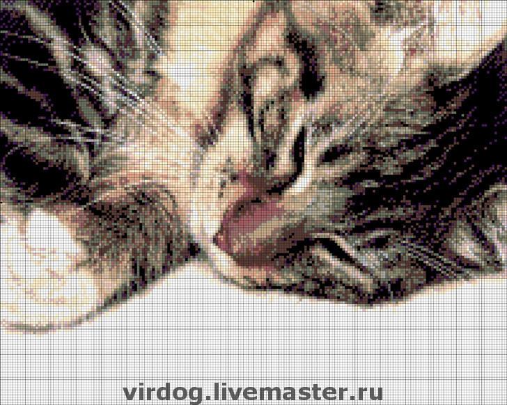 Схема вышивки бисером кот