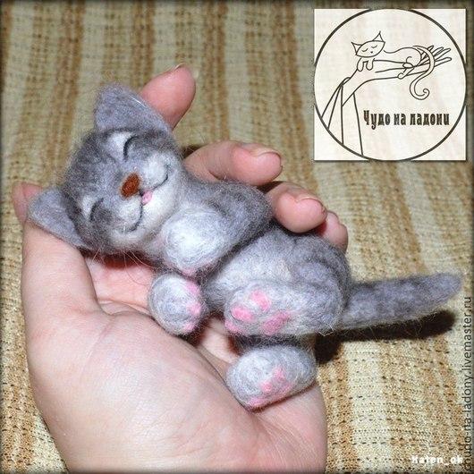 Игрушки животные, ручной работы. Ярмарка Мастеров - ручная работа. Купить Спящий котёнок. Handmade. Серый, валянная игрушка