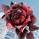 """Броши ручной работы. Ярмарка Мастеров - ручная работа. Купить Роза """"Tramonto"""". Натуральный шелк. Handmade. Брошь, бархат"""