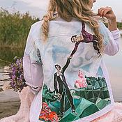 Одежда handmade. Livemaster - original item The pattern on Chagall`s jacket. Denim jacket with print.. Handmade.