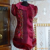 Одежда ручной работы. Ярмарка Мастеров - ручная работа Валяный жилет бордовый, женский. Handmade.