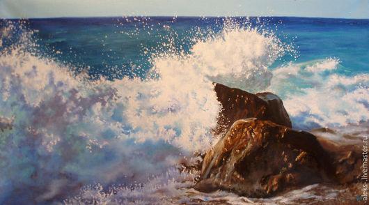Пейзаж ручной работы. Ярмарка Мастеров - ручная работа. Купить Морской пейзаж. Handmade. Синий, волна, море, берег, камень