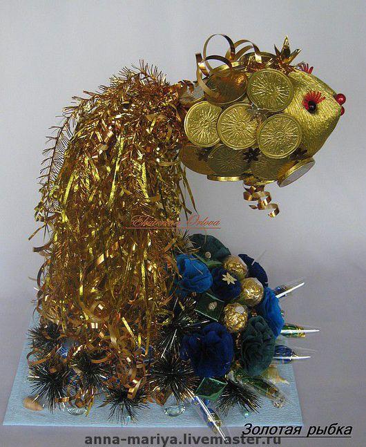Кулинарные сувениры ручной работы. Ярмарка Мастеров - ручная работа. Купить Золотая рыбка  (букет из конфет). Handmade. Сладкий подарок