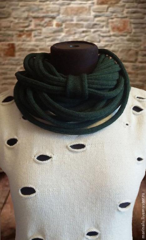 Шарфы и шарфики ручной работы. Ярмарка Мастеров - ручная работа. Купить Шарф-воротник (Шарф-снуд). Handmade. Зеленый, акрил