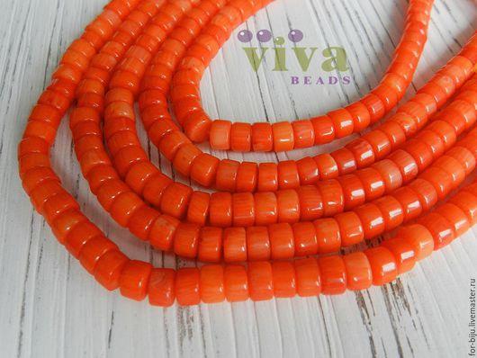 Коралл таблетка 6 х 4 мм оранжевый, отверстие ок. 0,8 мм, цвет коралловый (оранжевый) (арт. 1869)
