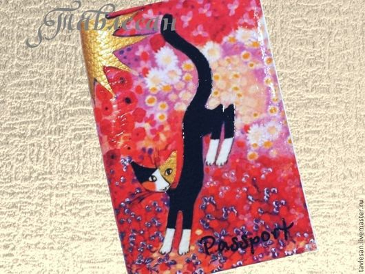 """Обложки ручной работы. Ярмарка Мастеров - ручная работа. Купить Обложка для паспорта """"Черная кошка"""" кожа. Handmade. Обложка из кожи"""