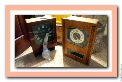 Винтажные предметы интерьера. Ярмарка Мастеров - ручная работа. Купить Старинные часы куранты с боем. Handmade. Коричневый, винтажные часы