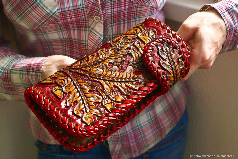 Wallet leather long 'Oak leaves', Wallets, Krasnodar,  Фото №1