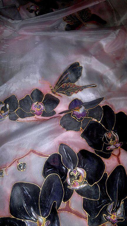 """Шарфы и шарфики ручной работы. Ярмарка Мастеров - ручная работа. Купить шарф """"Черные орхидеи"""". Handmade. Бледно-розовый, Батик"""