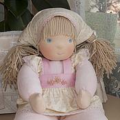 Куклы и игрушки ручной работы. Ярмарка Мастеров - ручная работа вальдорфская кукла Карамелька в пришивном комбинезоне, 40 см.. Handmade.