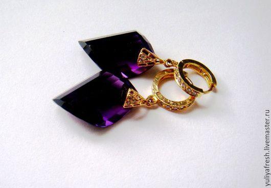 """Серьги ручной работы. Ярмарка Мастеров - ручная работа. Купить Серьги """"Purple в золоте"""". Handmade. Комбинированный, серьги золотые"""