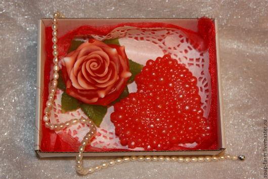 """Мыло ручной работы. Ярмарка Мастеров - ручная работа. Купить Мыло ручной работы. Набор """"Жемчужное сердце и роза"""". Handmade."""
