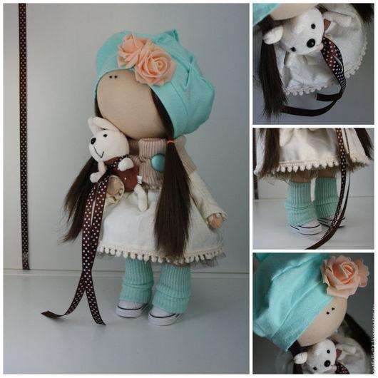 Куклы тыквоголовки ручной работы. Ярмарка Мастеров - ручная работа. Купить Кукла текстильная МАЙЯ. Handmade. Мятный, кукла из ткани