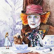 """Картины ручной работы. Ярмарка Мастеров - ручная работа Картины акварелью """"Алиса в стране чудес"""". Handmade."""