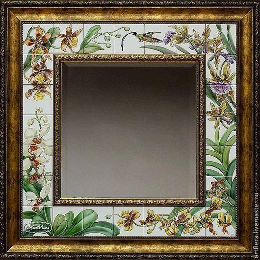 Зеркала ручной работы. Ярмарка Мастеров - ручная работа. Купить Зеркало Роспись керамики Орхидеи и калибри. Handmade. Зеркало, экзотика