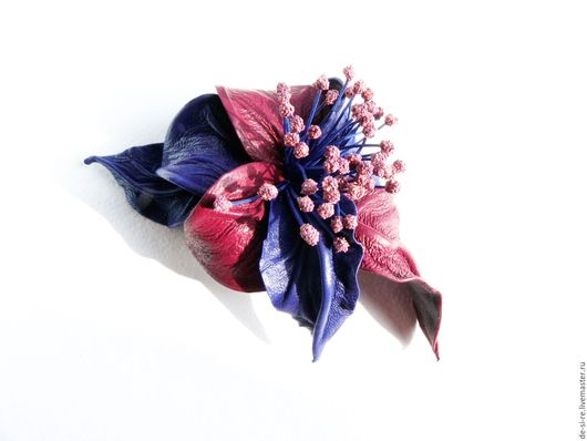 Брошь цветок объёмная из кожи Томный Вечер синяя бордовая марсала кобальт.  Брошь на сумку, пояс, шляпу, пальто, шубу, пиджак, платье, свитер,шарф,шаль, платок палантин, верхнюю одежду Подарок женщине