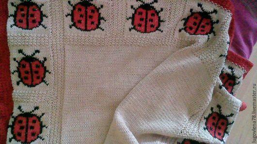 """Пледы и одеяла ручной работы. Ярмарка Мастеров - ручная работа. Купить Детский хлопковый плед """"Божьи коровки"""". Handmade. Бежевый"""