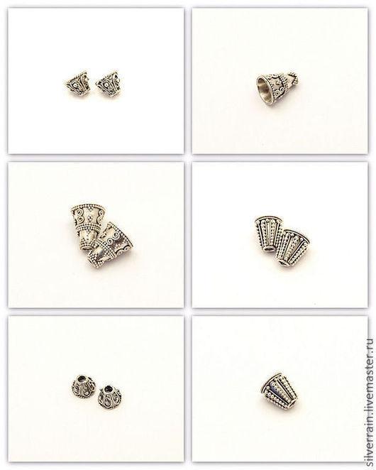 Для украшений ручной работы. Ярмарка Мастеров - ручная работа. Купить Бусина конус серебро 925 пробы. Handmade.