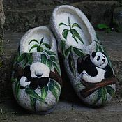 Тапочки ручной работы. Ярмарка Мастеров - ручная работа Тапочки 44 «Панды». Handmade.