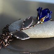 """Украшения ручной работы. Ярмарка Мастеров - ручная работа Колье """"Роза"""" горизонтальная лэмпворк & медь. Handmade."""