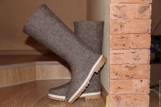 Обувь ручной работы. Ярмарка Мастеров - ручная работа. Купить Сапоги валяные женские Мокко 2. Handmade. Бежевый