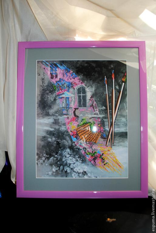 """Пейзаж ручной работы. Ярмарка Мастеров - ручная работа. Купить Картина вышитая бисером """"Воздушная акварель"""". Handmade. Картина"""