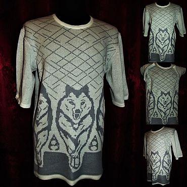 "Clothing handmade. Livemaster - original item 100% лён Мужская футболка ""Друзья"" со спущенным плечом. Handmade."