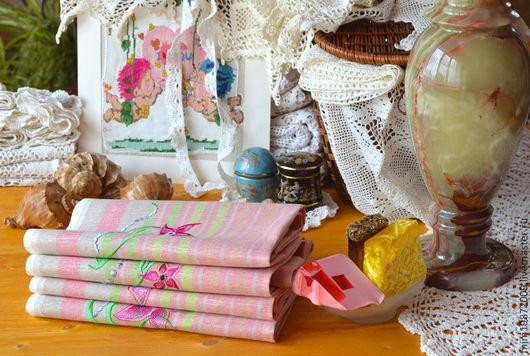 льняные полотенца с вышивкой, лён в полоску, цветной лён, со сновками, гипоаллергенный, розовый, рушник, дорожка, полотенце для гостей, Эко дом,