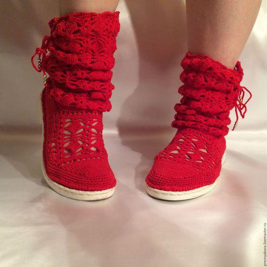 Обувь ручной работы. Ярмарка Мастеров - ручная работа. Купить Летние хлопковые сапожки.. Handmade. Ярко-красный, обувь на заказ